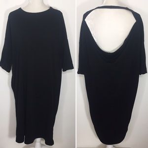 COS • black backless tunic dress